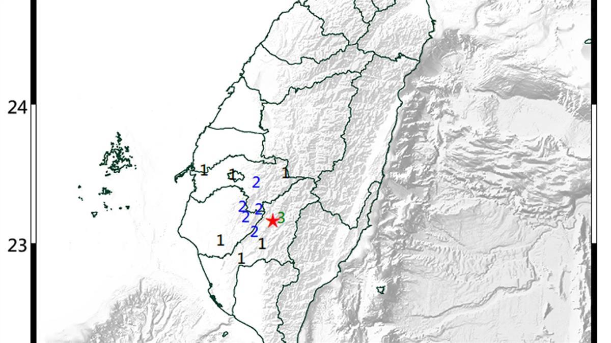 高雄桃源地震規模3.9 最大震度3級