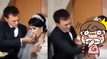 不爽新娘調皮小動作 新郎婚禮怒甩巴掌打趴她