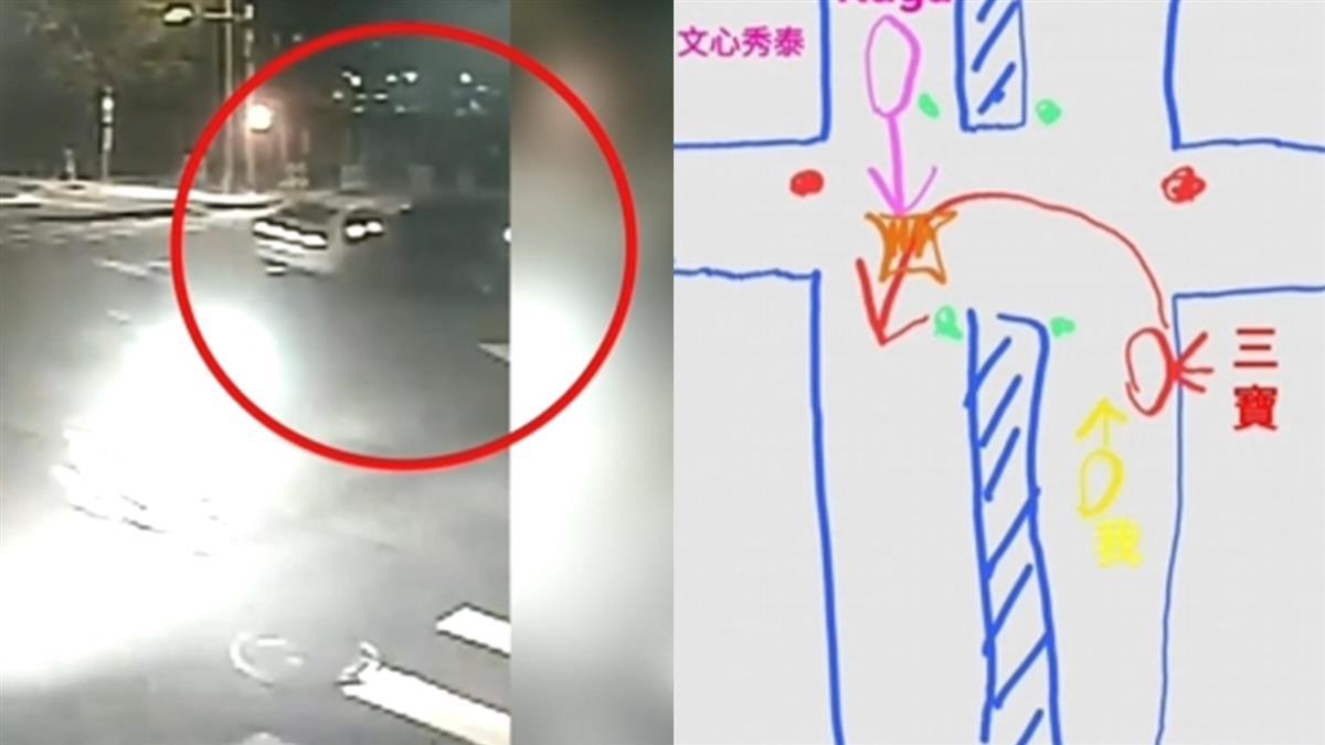 轎車超狂大迴轉遭撞飛 目擊民眾「手繪圖」神還原