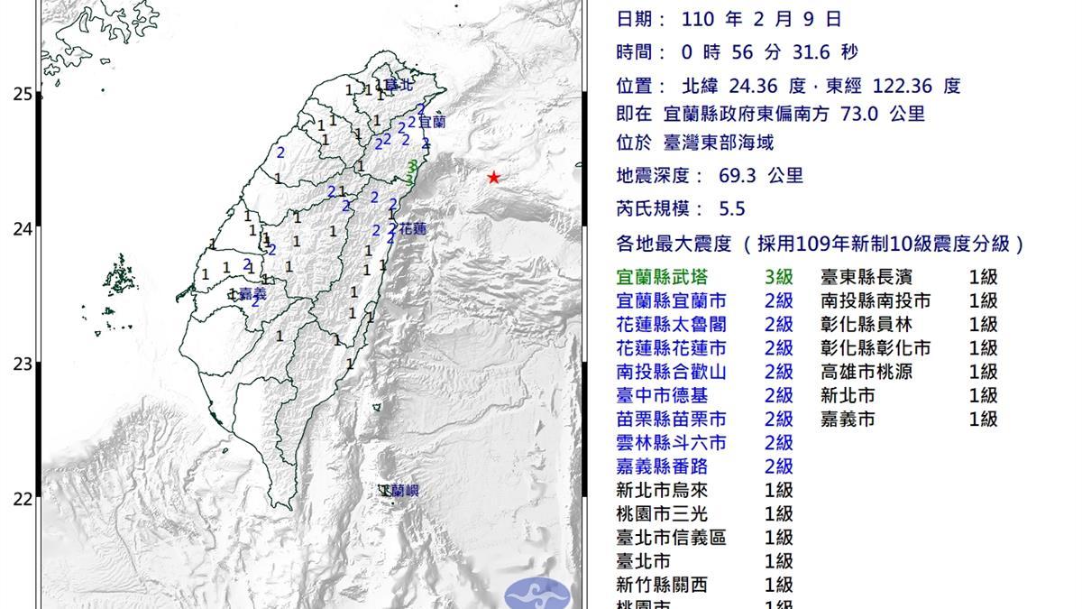 快訊/地牛翻身!台灣東部地震狂搖 台北超有感