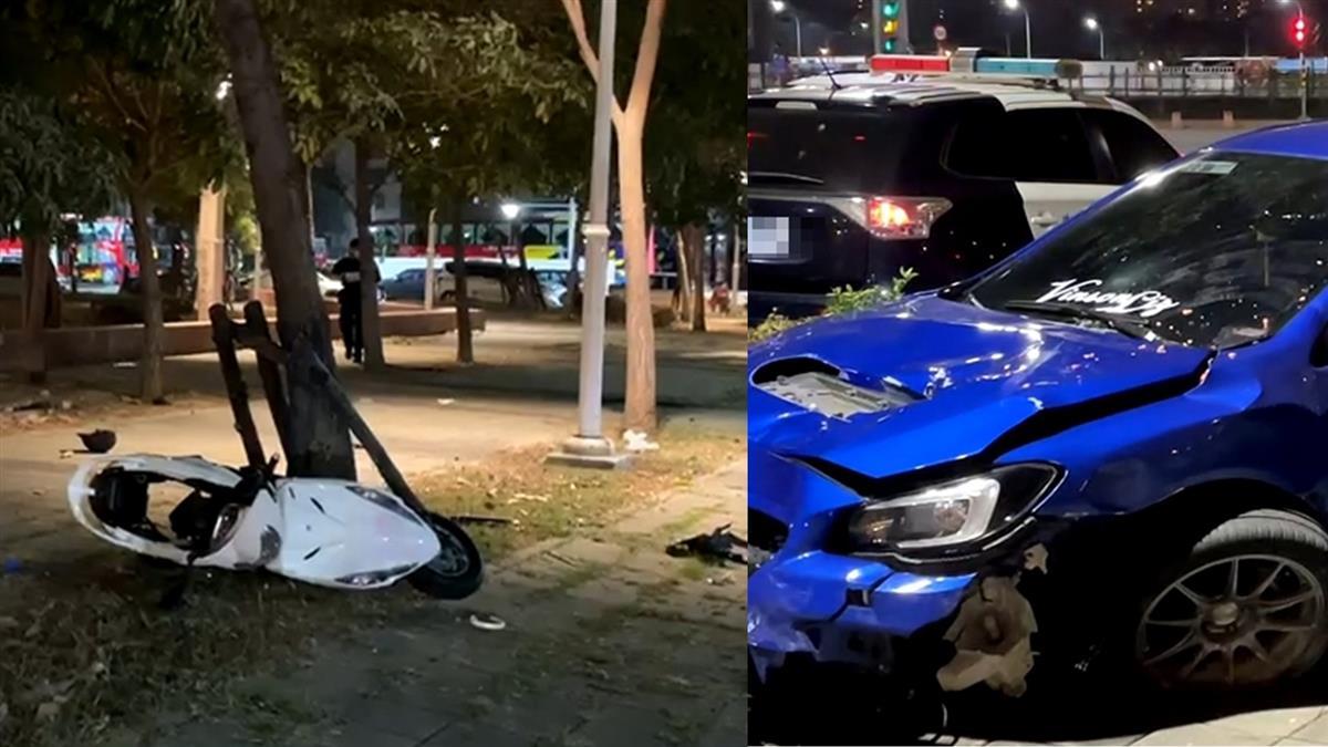 小年夜悲劇!轎車失控撞上待轉區 女騎士噴飛10公尺亡