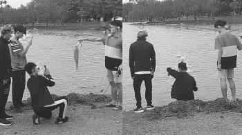 4屁孩在衛武營生態池釣魚 喜炫戰利品合影點燃全網怒火
