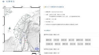 凌晨連兩震!02:38台東縣規模5.2地震 最大震度4級