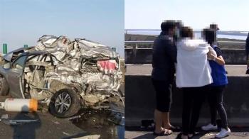 西濱轎車被削一半!死者是中油退休人員 女兒認屍哭癱喊爸爸