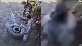 輪胎打氣爆炸!車廠老闆噴飛「翻360度」摔地慘死 驚悚畫面曝