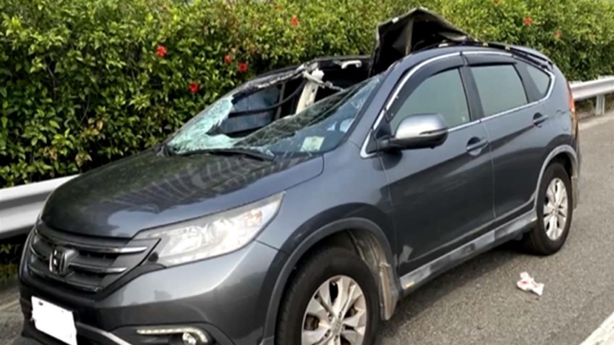 貨櫃車輪胎噴飛砸一家四口 副駕母亡、2女兒搶救
