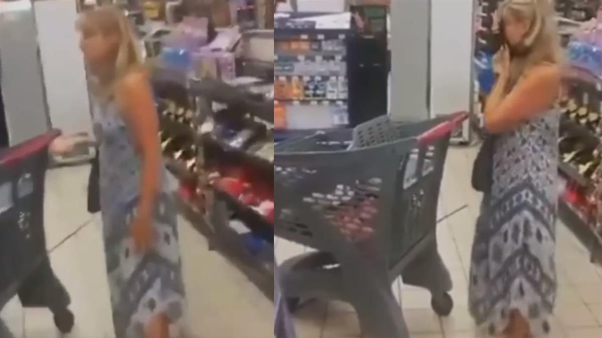 金髮妹逛超市不戴口罩 被勸阻秒脫小褲褲掛臉上:滿意了吧