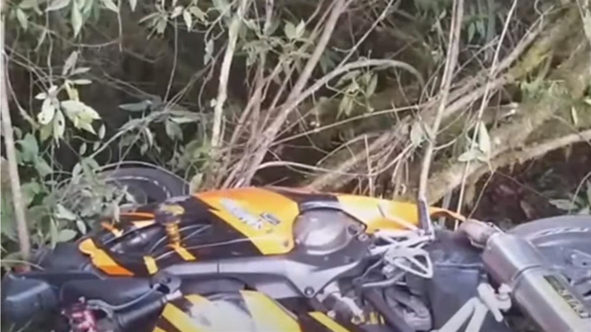 台8線重機衝護欄卡樹上 騎士滑落6公尺邊坡