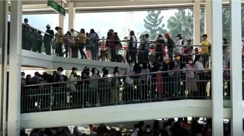 人潮爆了!日月潭纜車排2小時 1.5萬人湧九族賞櫻