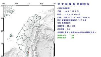 台東近海地震規模3.8 最大震度3級
