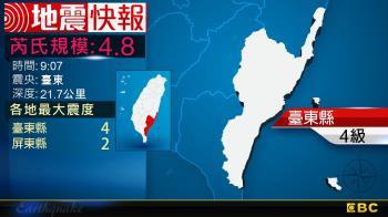 地牛翻身!9:07 臺東發生規模4.8地震