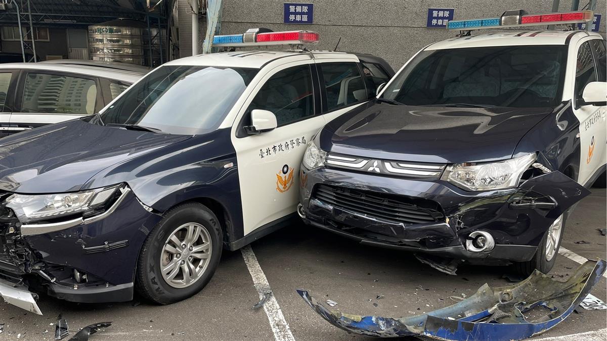 台北男開車直衝「文山第一分局」 至少3警車被撞爛
