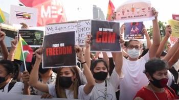 緬甸示威台資工廠遭火燒 萊達雅區進入戒嚴