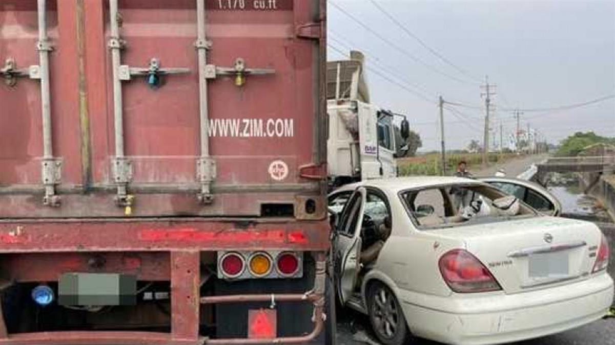 貨櫃車右轉猛撞「超載轎車」 4人噴飛2人卡車內