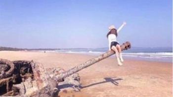 網美踩坐金門「沉睡戰車」拍照 IG發照:我輕盈像小可愛