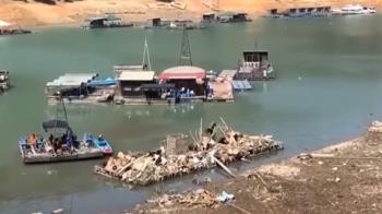 日月潭乾旱水位降11米 沉沒潭底廢棄物全浮現