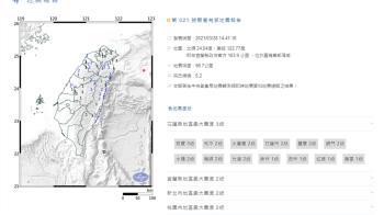 快訊/東部海域規模5.2地震 最大震度花蓮3級