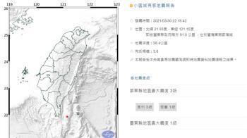快訊/台東外海22:16規模3.8地震 最大震度屏東3級