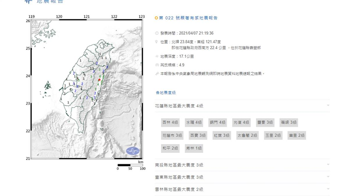 快訊/花蓮21:19地牛翻身 規模4.9最大震度4級