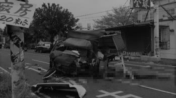 悚!苗栗貨車偏移自撞電桿 酒駕翁濺血滿地慘死