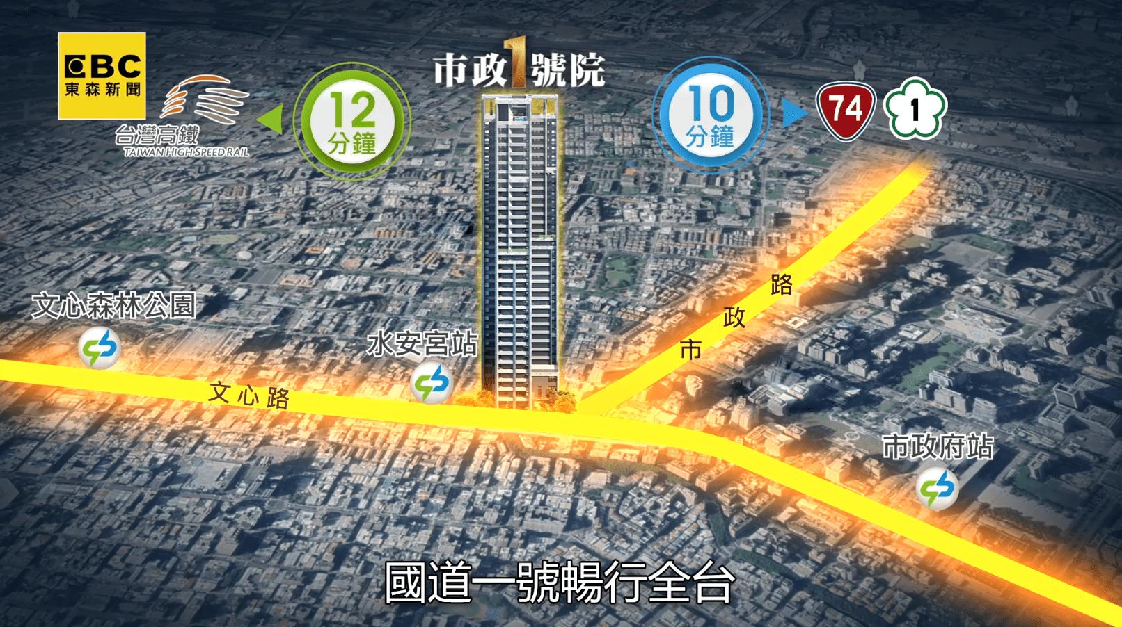 「市政1號院」捷運、高鐵、快速道路交通十分方便