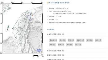 宜蘭外海02:09發生規模4.5地震 最大震度3級