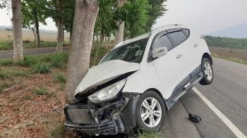 屏東轎車疑閃狗自撞路樹 釀1死4傷