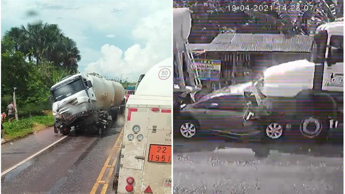 轎車遭水泥車「1秒夾殺」 一家5口被擠扁全喪命