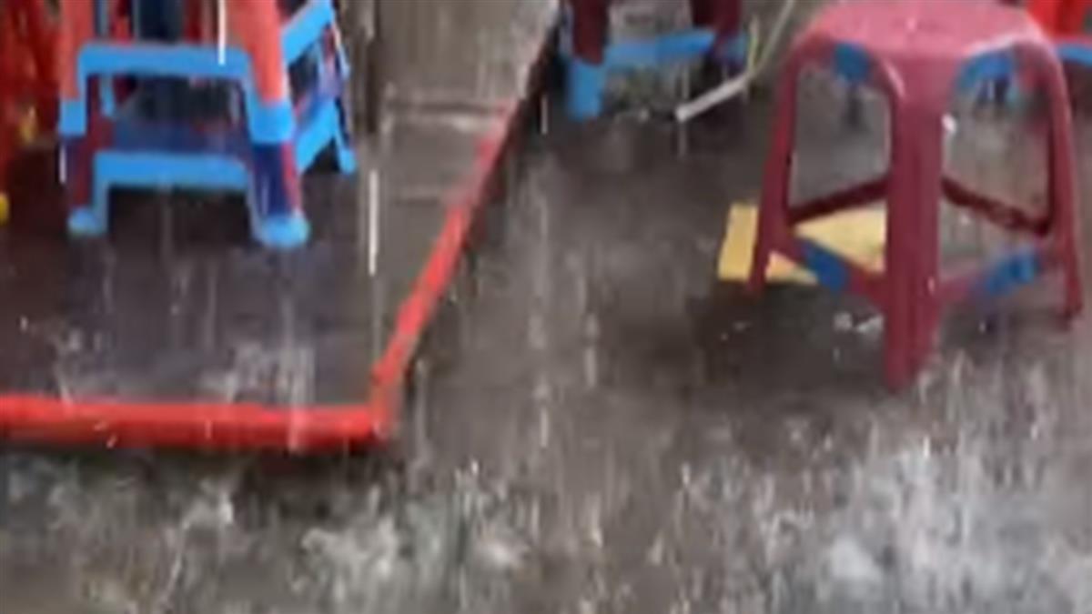 雨神發威了!清境農場暴雨夾冰雹 遊客全嗨翻