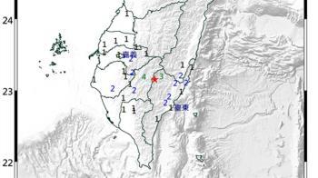 台東海端連4震「規模4.6」 最大震度高雄市4級