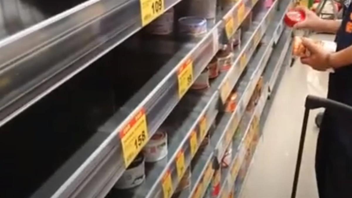 蘆洲超市出現搶購潮 泡麵、罐頭、衛生紙被掃光