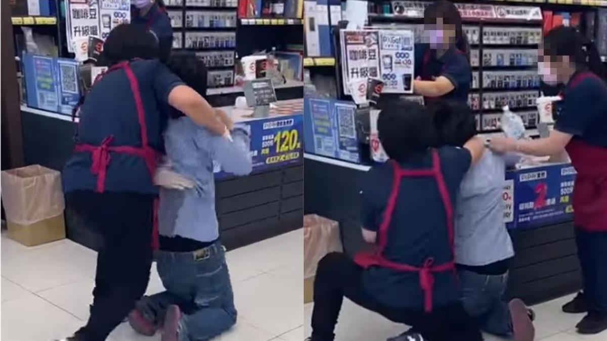藍衣女口罩戴歪闖全聯 遭店員「肉身壓制」報警處理