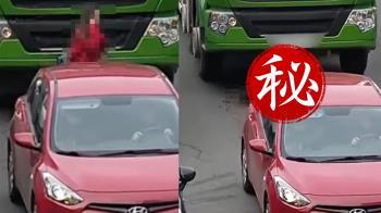 紅衣妹過馬路講電話 下秒遭水泥車1秒輾壓…驚悚畫面曝光
