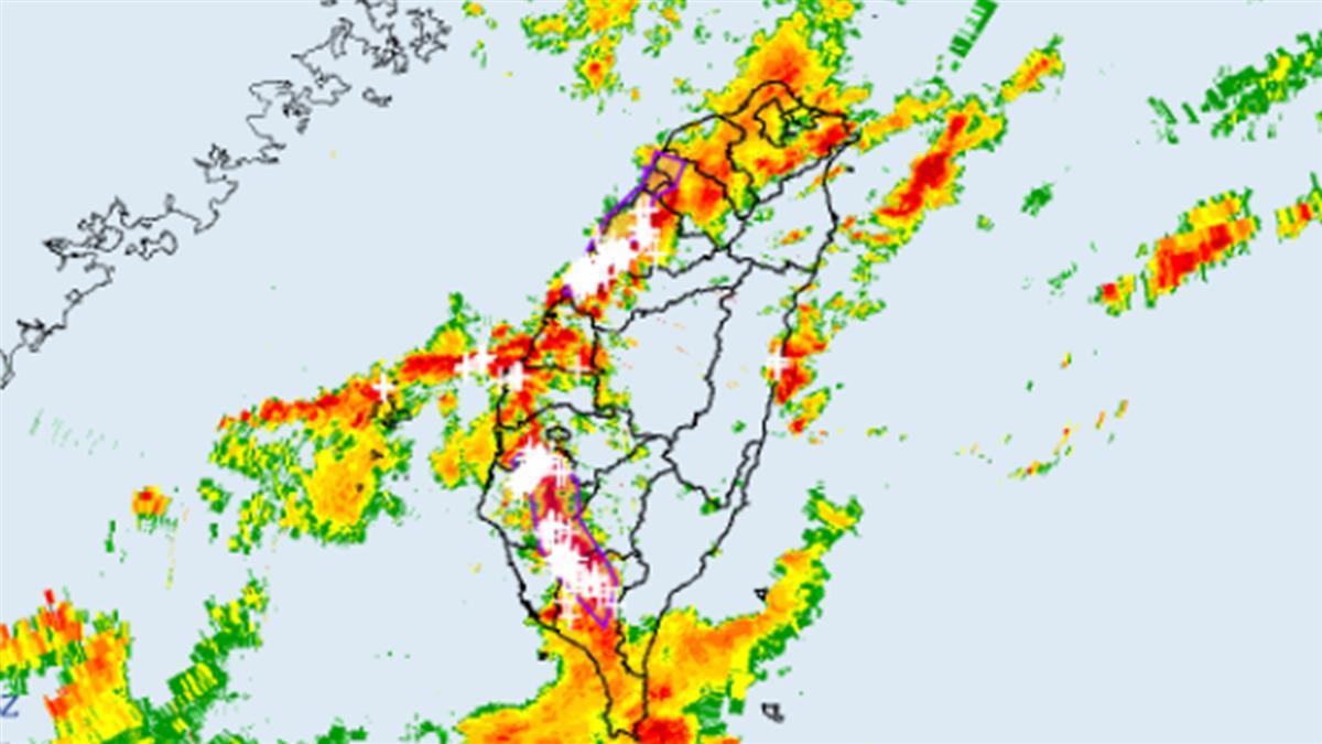 快訊/雨彈往中南部下 8縣市發布大雷雨訊息