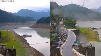 石門水庫10天對比照曝 水位暴漲22公尺「山坡全淹沒」