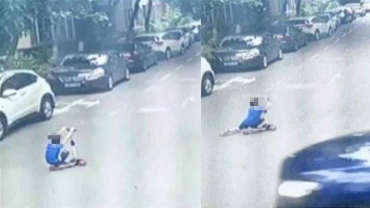 7歲弟「蹲著玩滑板車」被轎車輾過 倒車再輾一次慘死