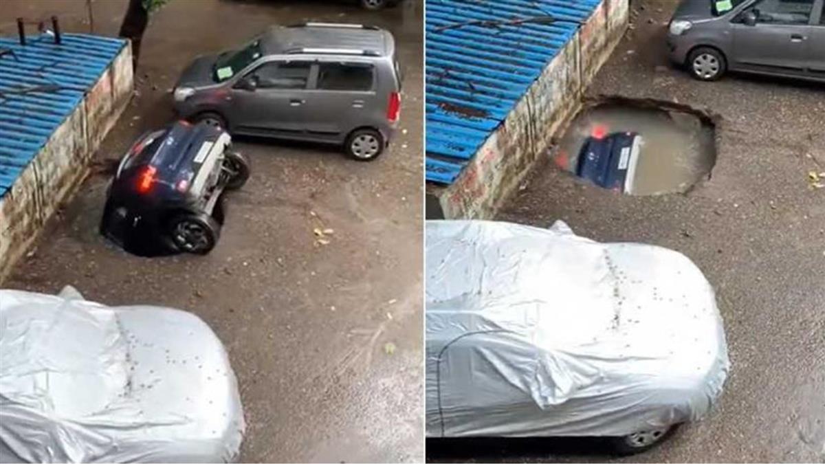 連日豪雨!地面驚見「詭異破洞」 休旅車慘被吞噬
