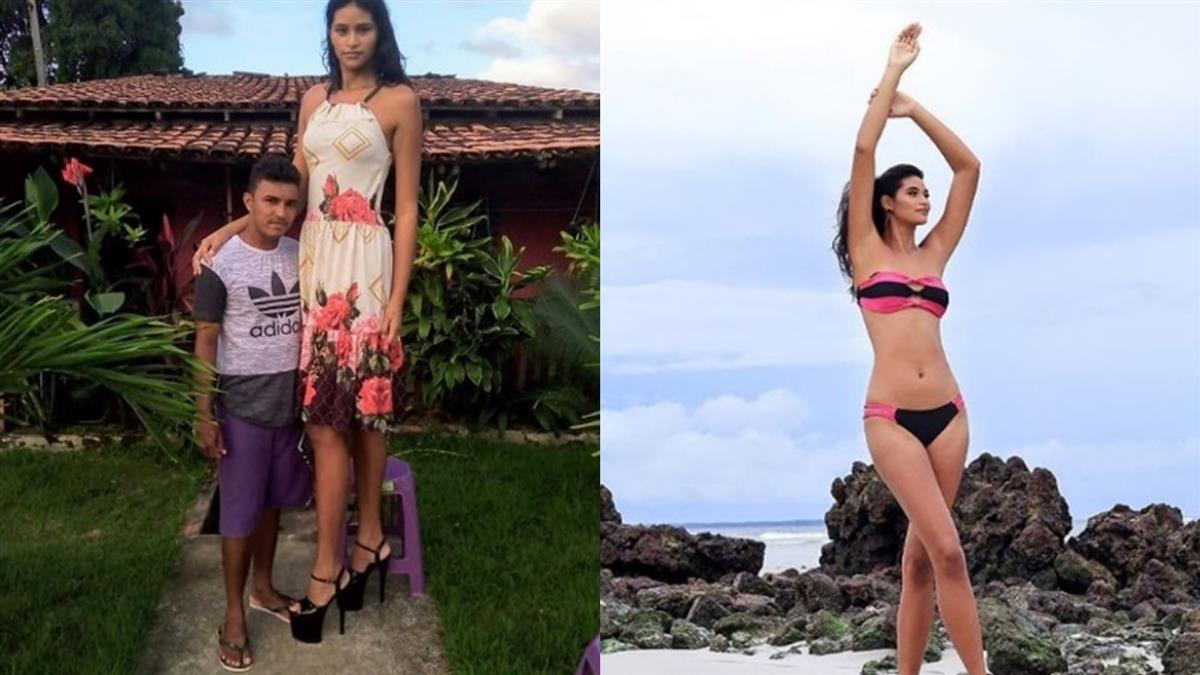 207公分高!巴西女模患巨人症 尪身高只到肚子仍超甜