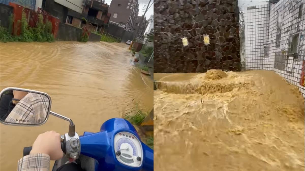 高雄鳥松變黃河!路邊湧屎色噴泉 半個輪胎全陷入