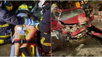 豐田86山路「逆向超車」失敗 高速對撞來車全毀了