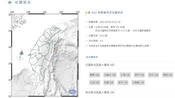 花蓮03:21發生規模4.2地震 最大震度4級