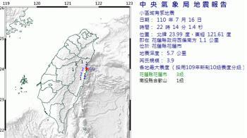 24hr連17震!花蓮地牛翻身 規模3.9最大震度3級