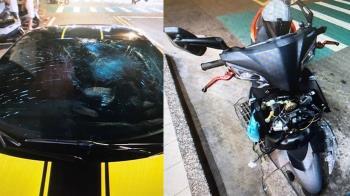 驚悚畫面曝!法拉利與機車相撞 騎士噴飛「空中轉一圈」