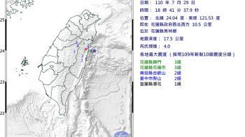 快訊/花蓮地牛翻身!18:40規模4.0 最大震度3級