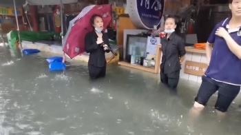 氣象局發國家級警報 嘉義豪雨奉天宮前水深過膝
