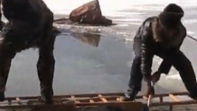 冰凍湖面突塌陷 22犛牛瞬間凍結成冰團