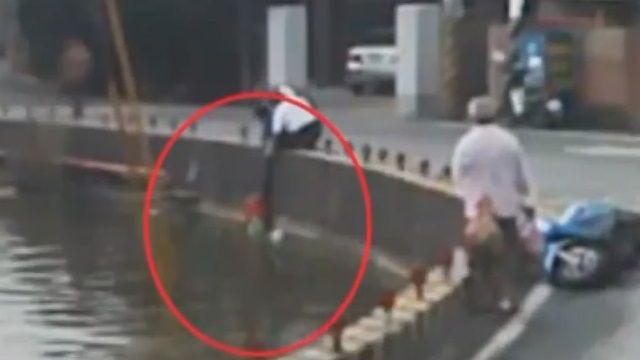 大塞車背後的真相 只為了水中的男子?