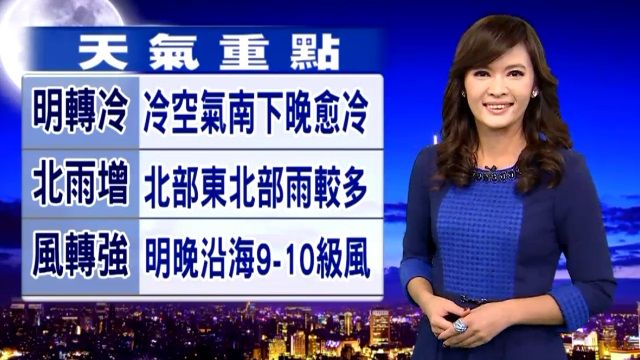 【2015/11/24】明氣溫下降轉冷 北台灣降雨增加