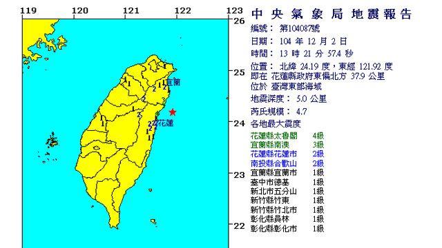 13:21台灣東部海域發生規模4.7有感地震