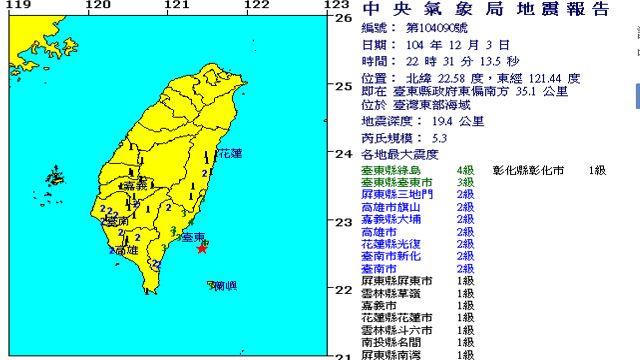 22:31台灣東部海域發生規模5.3有感地震